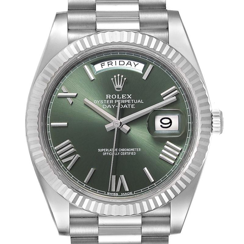 Rolex President Day-Date 40 Green Dial White Gold Watch 228239 Unworn SwissWatchExpo