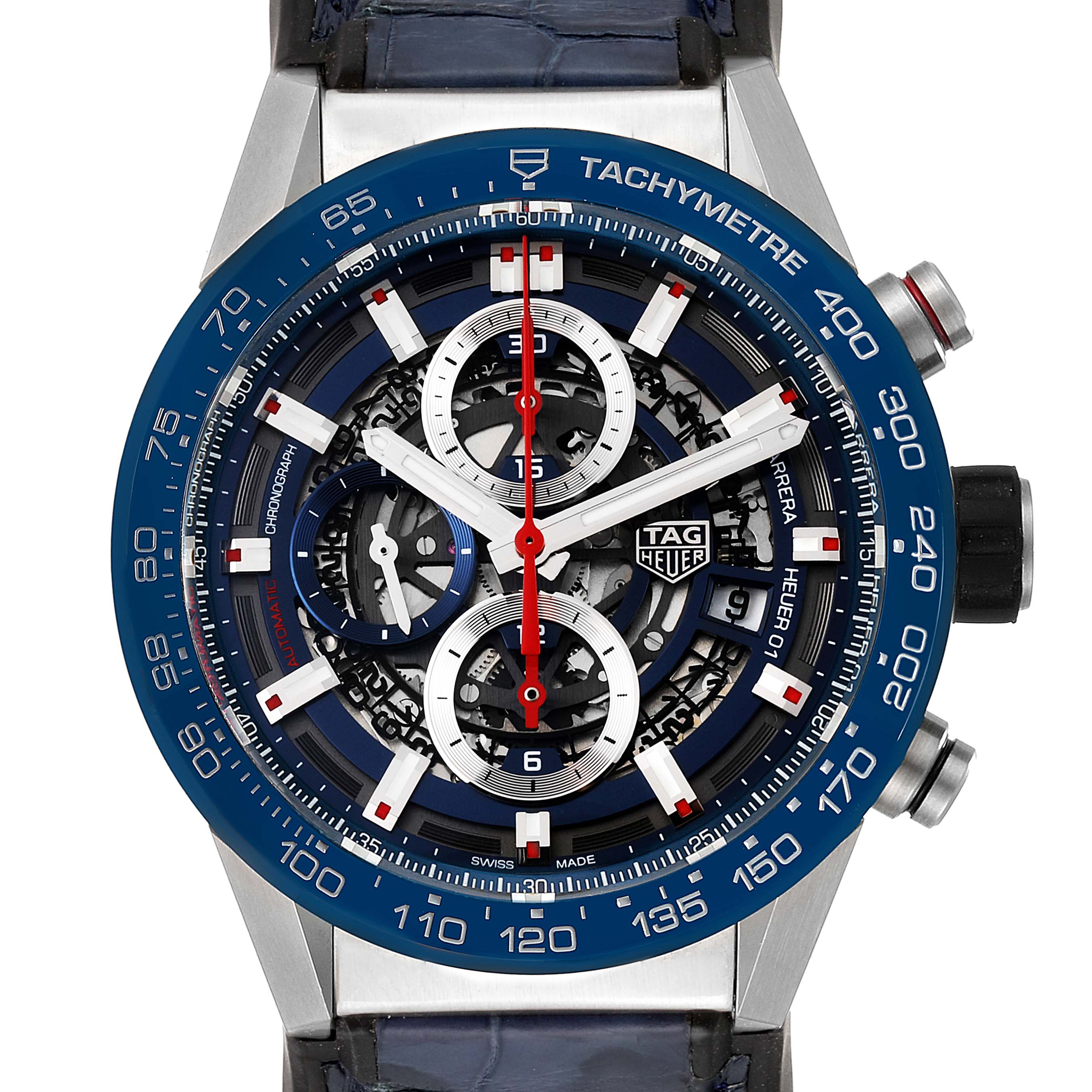 Photo of Tag Heuer Carrera Blue Skeleton Dial Chronograph Mens Watch CAR201T