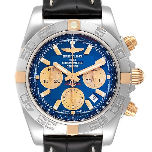 Photo of Breitling Chronomat Blue Dial Steel Rose Gold Mens Watch IB0110