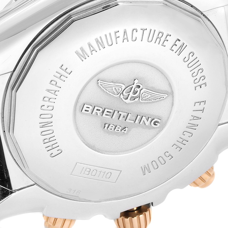 Breitling Chronomat Blue Dial Steel Rose Gold Mens Watch IB0110 SwissWatchExpo