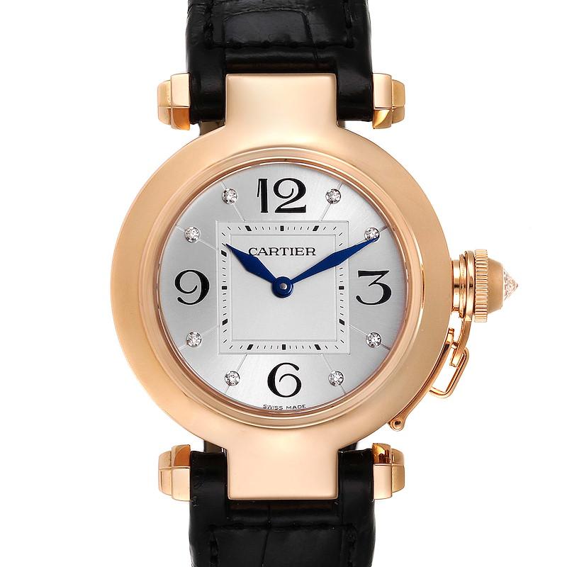 Cartier Pasha 32 Rose Gold Diamond Automatic Ladies Watch WJ11913G SwissWatchExpo