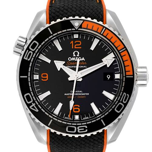 Photo of Omega Planet Ocean Black Orange Bezel Watch 215.32.44.21.01.003 Box Card