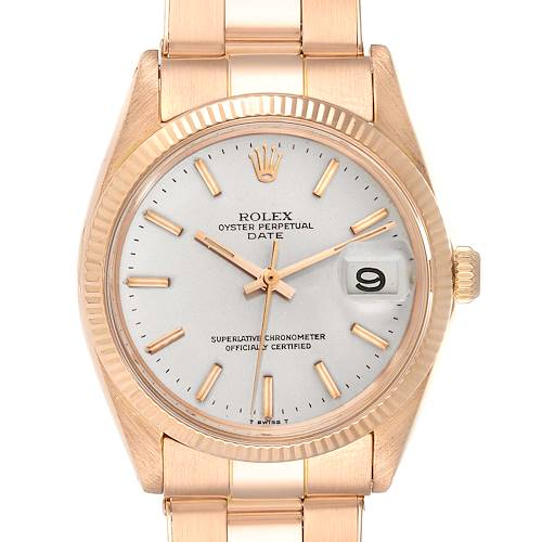 Rolex Date 18K Rose Gold Oyster Bracelet Vintage Mens Watch 1503