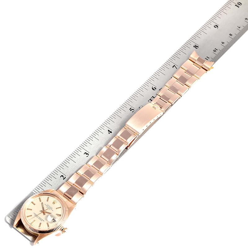Rolex Date 18K Rose Gold Oyster Bracelet Vintage Mens Watch 1503 SwissWatchExpo