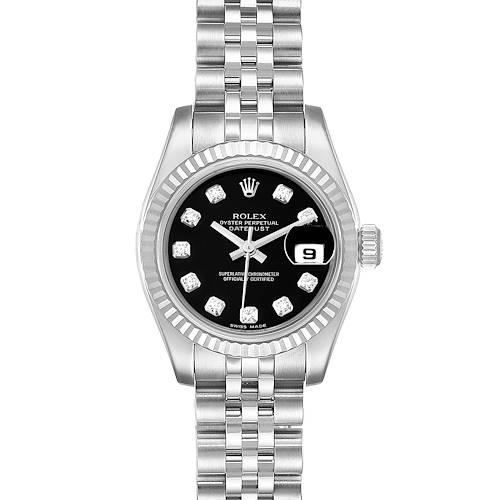 Photo of Rolex Datejust Steel White Gold Black Diamond Dial Ladies Watch 179174