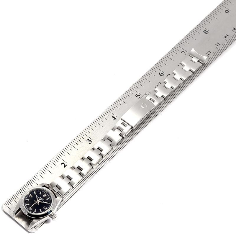 Rolex Non-Date Black Dial Automatic Steel Ladies Watch 76080 SwissWatchExpo