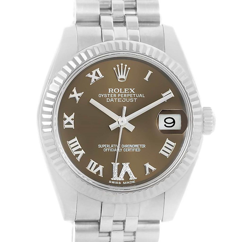Rolex Datejust Midsize Steel White Gold Brown Diamond Dial Watch 178274 SwissWatchExpo