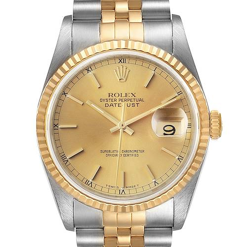 Photo of Rolex Datejust Steel 18K Yellow Gold Champagne Dial Watch 16233 Box Papers
