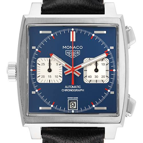 Photo of Tag Heuer Monaco Chronograph Blue Dial Steel Mens Watch CAW211P