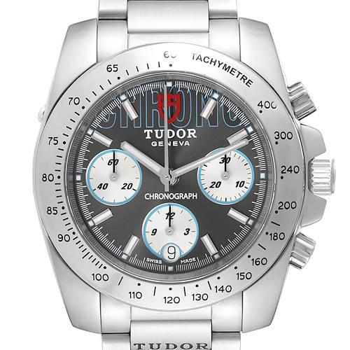 Photo of Tudor Sport Grey Dial Chronograph Steel Mens Watch 20300 Box Card