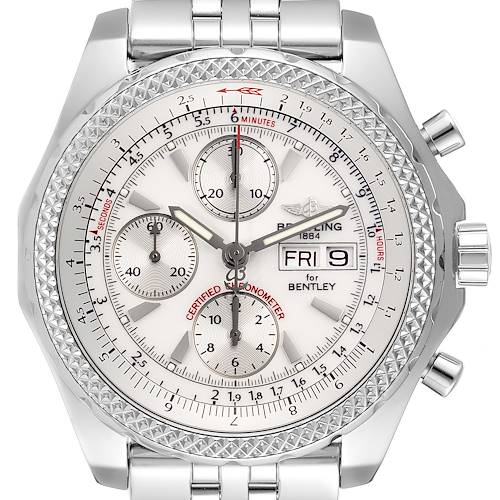 Photo of Breitling Bentley Motors GT Silver Dial Chronograph Watch A13362 Box Papers
