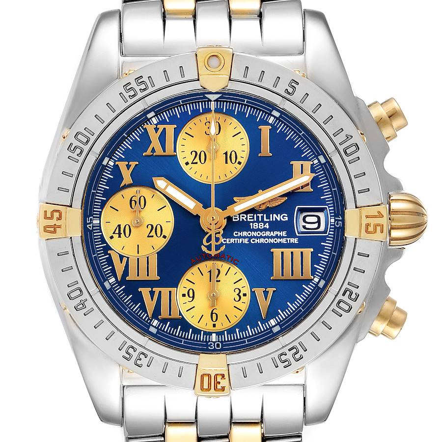 Breitling Cockpit Steel Yellow Gold Blue Dial Mens Watch B13358 Box Papers SwissWatchExpo
