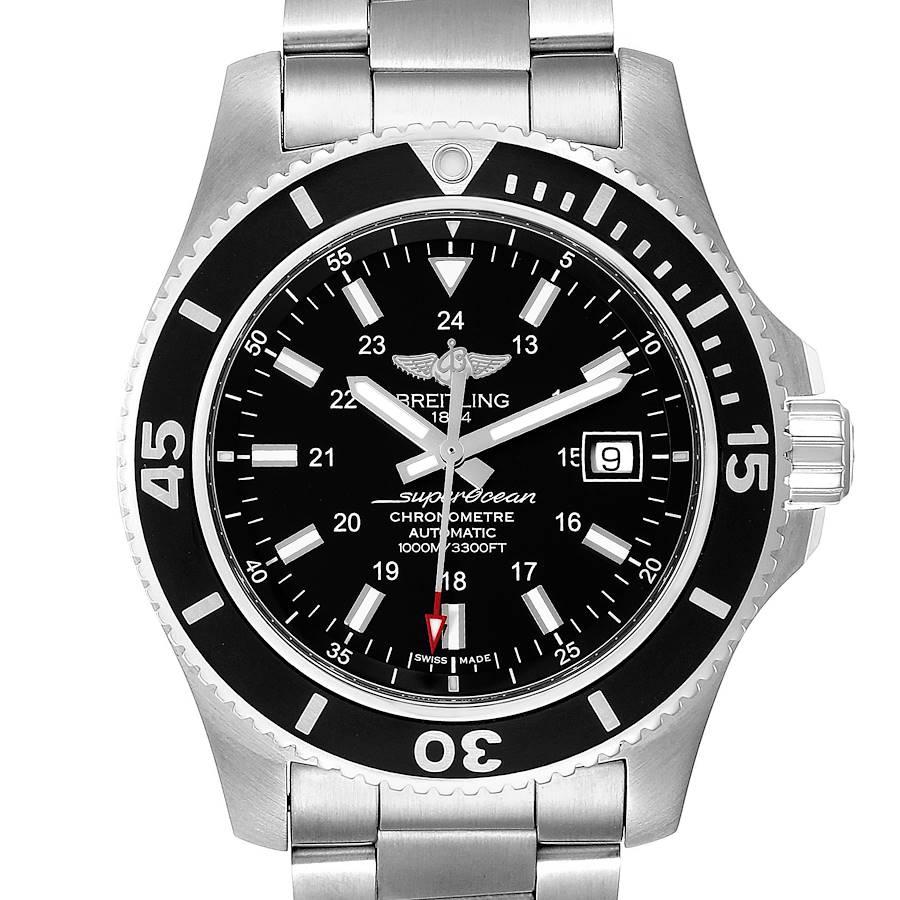 Breitling Superocean II 44 Black Dial Steel Mens Watch A17392 Box Papers SwissWatchExpo