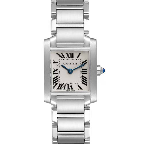 Photo of Cartier Tank Francaise Silver Dial Blue Hands Watch W51008Q3 Box Papers