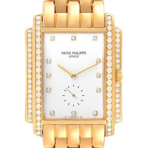 Photo of Patek Philippe Gondolo 18k Yellow Gold White Dial Diamond Mens Watch 5025