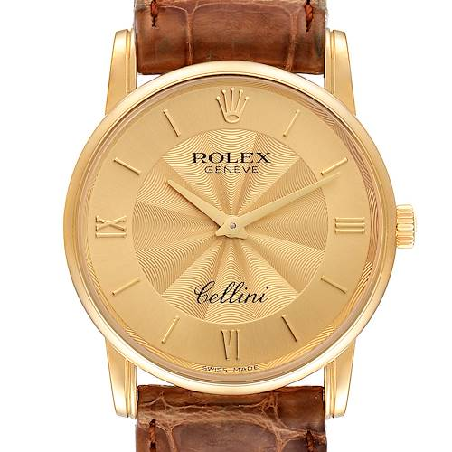 Photo of Rolex Cellini Classic Yellow Gold Decorated Champagne Dial Mens Watch 5116