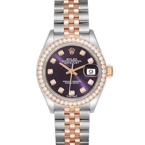 Photo of Rolex Datejust 28 Steel Everose Gold Diamond Ladies Watch 279381 Unworn