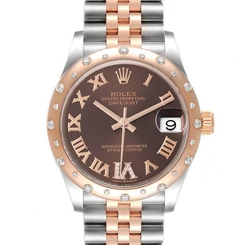 Photo of Rolex Datejust 31 Midsize Steel Rose Gold Diamond Ladies Watch 278341 Unworn