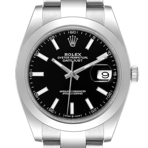 Photo of Rolex Datejust 41 Black Dial Steel Mens Watch 126300 Box Card