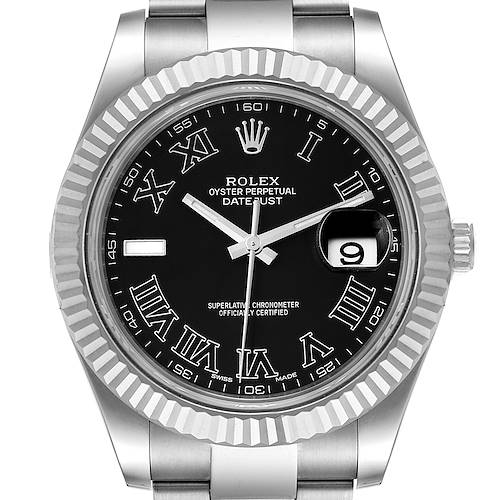 Photo of Rolex Datejust II 41mm Grey Dial Steel White Gold Mens Watch 116334 Box Card