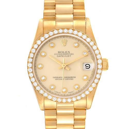 Photo of Rolex President Datejust 31 Midsize Yellow Gold Diamond Ladies Watch 68288