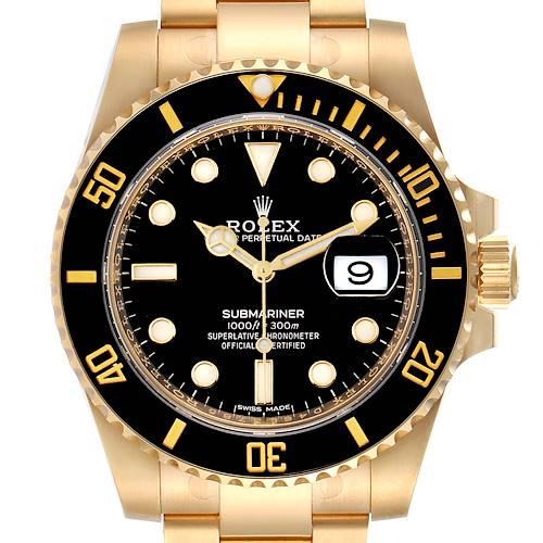 Photo of Rolex Submariner Black Dial Yellow Gold Mens Watch 116618 Unworn