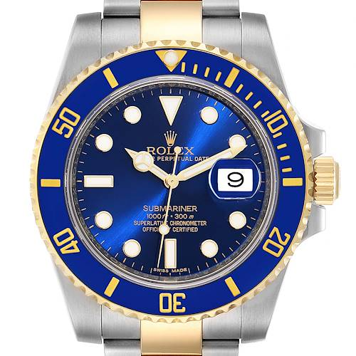 Photo of Rolex Submariner Steel 18K Yellow Gold Blue Dial Mens Watch 116613 Box Card