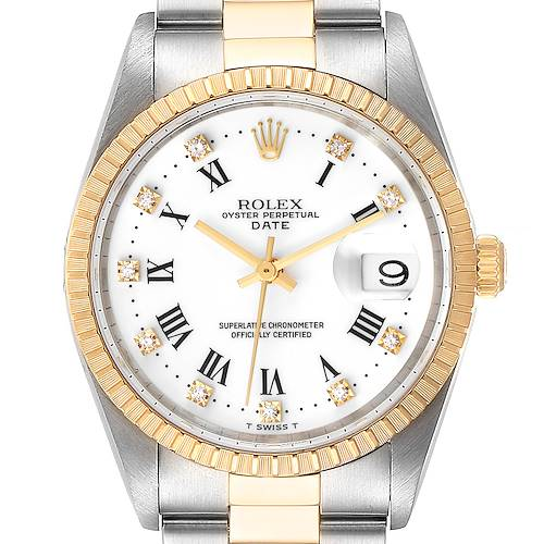 Photo of Rolex Date Mens Steel Yellow Gold White Diamond Dial Mens Watch 15223