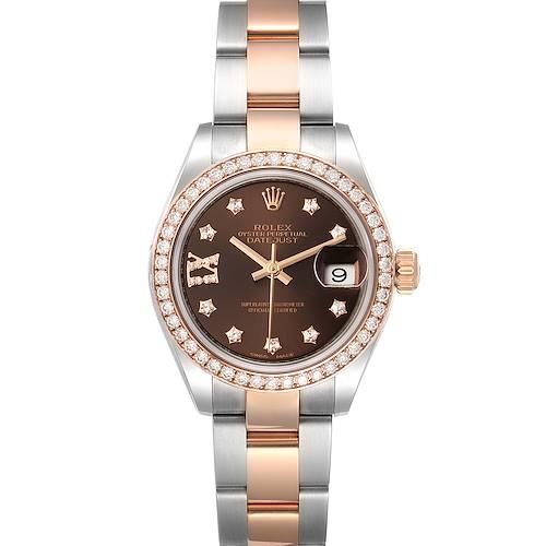 Photo of Rolex Datejust 28 Steel Rolesor Everose Gold Diamond Watch 279381 Unworn