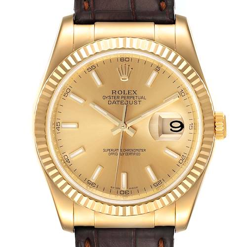 Photo of Rolex Datejust 36 Yellow Gold Champagne Dial Mens Watch 116138