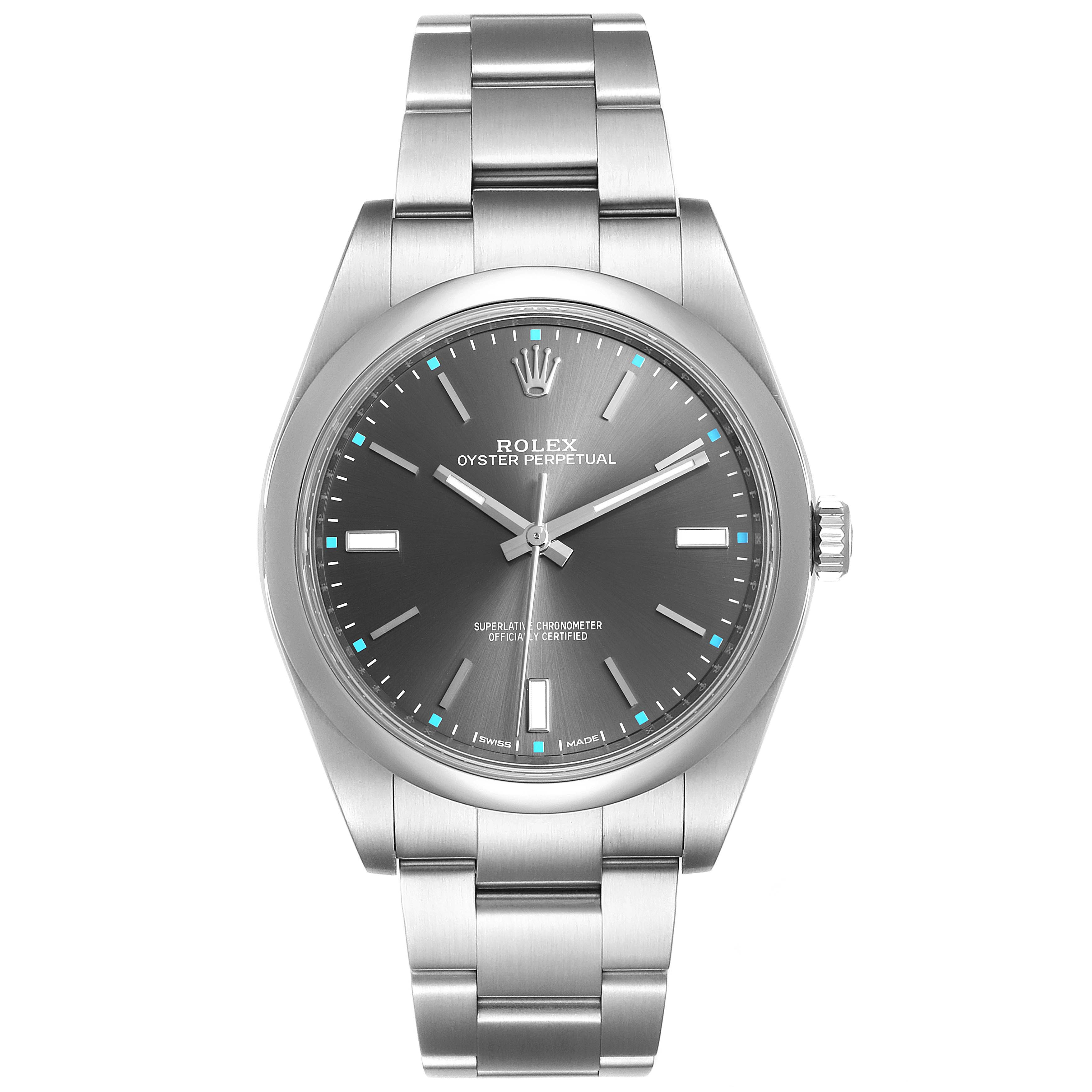 Rolex Oyster Perpetual 39 Rhodium Dial Steel Mens Watch 114300 SwissWatchExpo