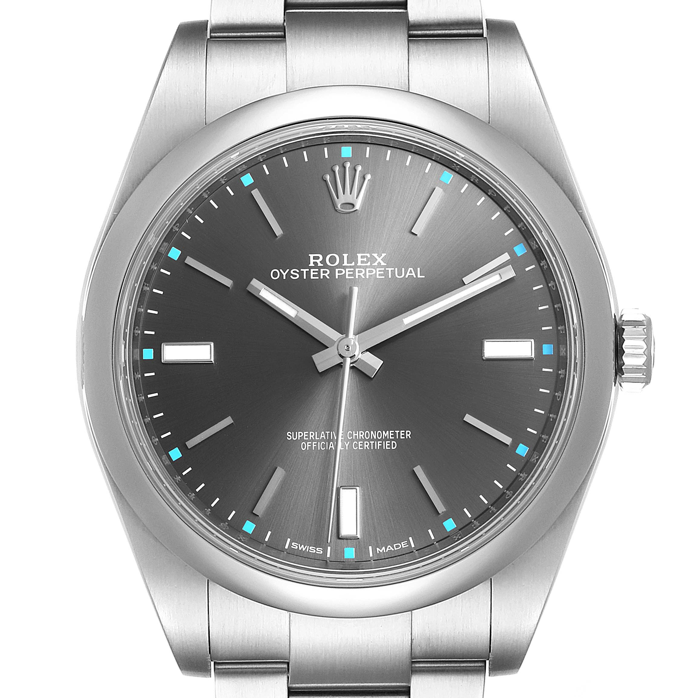 Photo of Rolex Oyster Perpetual 39 Rhodium Dial Steel Mens Watch 114300