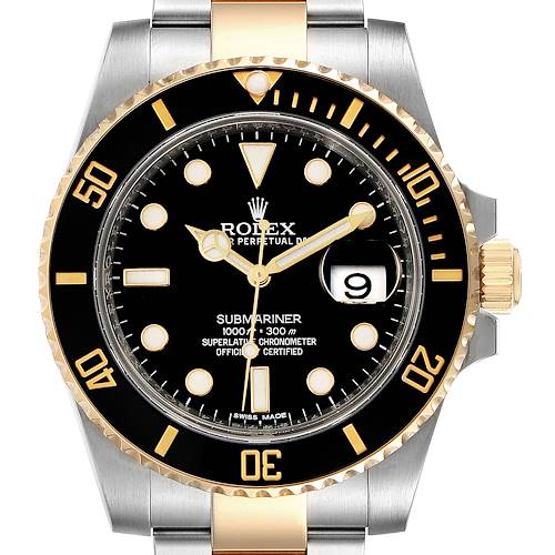 Photo of Rolex Submariner Steel Yellow Gold Black Dial Mens Watch 116613 Box Card