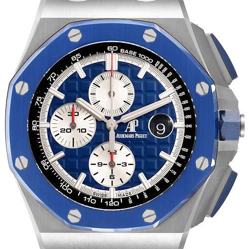 Photo of Audemars Piguet Royal Oak Offshore Chronograph Blue Dial Watch 26400 Unworn