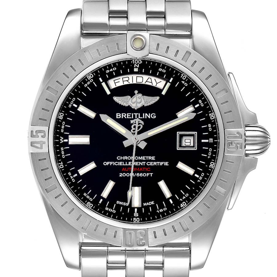 Breitling Galactic 44 Day-Date Steel Black Dial Watch A45320 Box Papers SwissWatchExpo