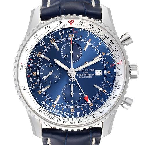 Photo of Breitling Navitimer World GMT Steel Blue Dial Watch A24322 Unworn