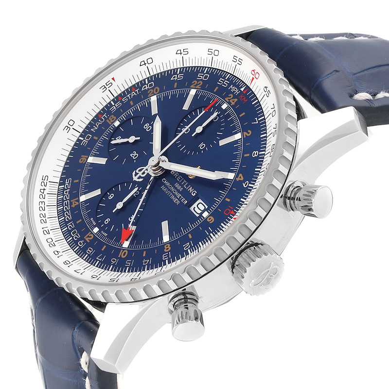 Breitling Navitimer World GMT Steel Blue Dial Watch A24322 Unworn SwissWatchExpo