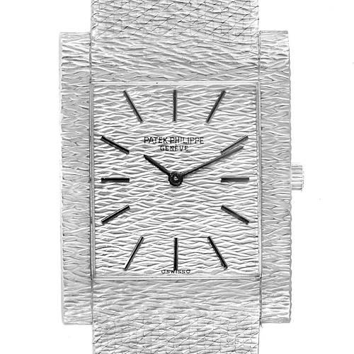 Photo of Patek Philippe 18k White Gold Textured Dial Vintage Mens Watch 3553