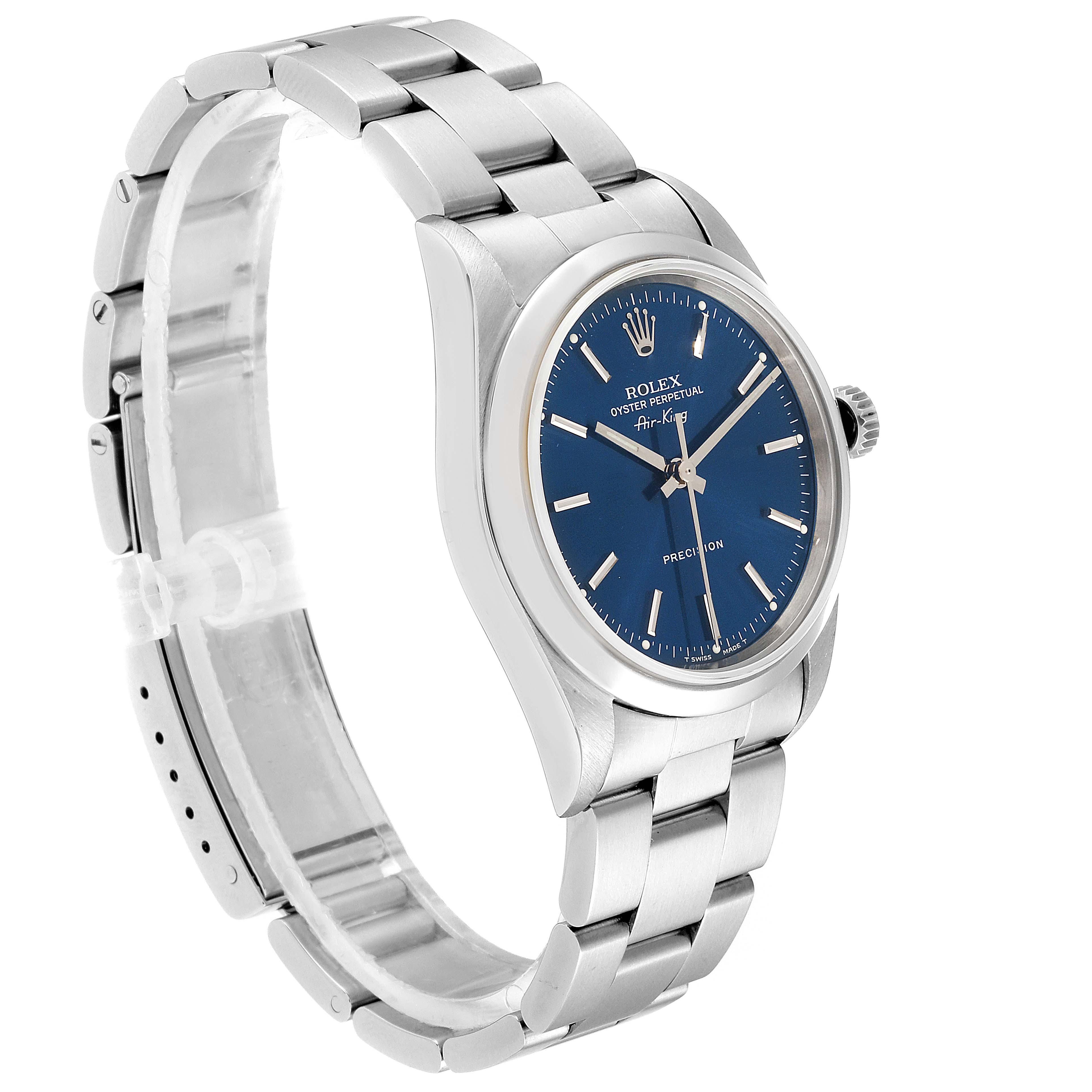 Rolex Air King 34 Blue Dial Domed Bezel Steel Mens Watch 14000 SwissWatchExpo