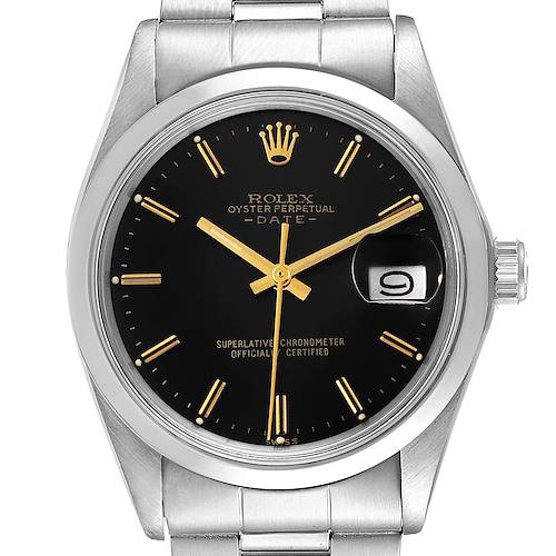 Photo of Rolex Date Black Dial Vintage Stainless Steel Mens Watch 1500