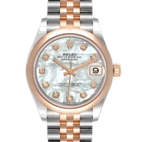 Photo of Rolex Datejust 31 Midsize Steel Rose Gold MOP Diamond Watch 278241 Unworn