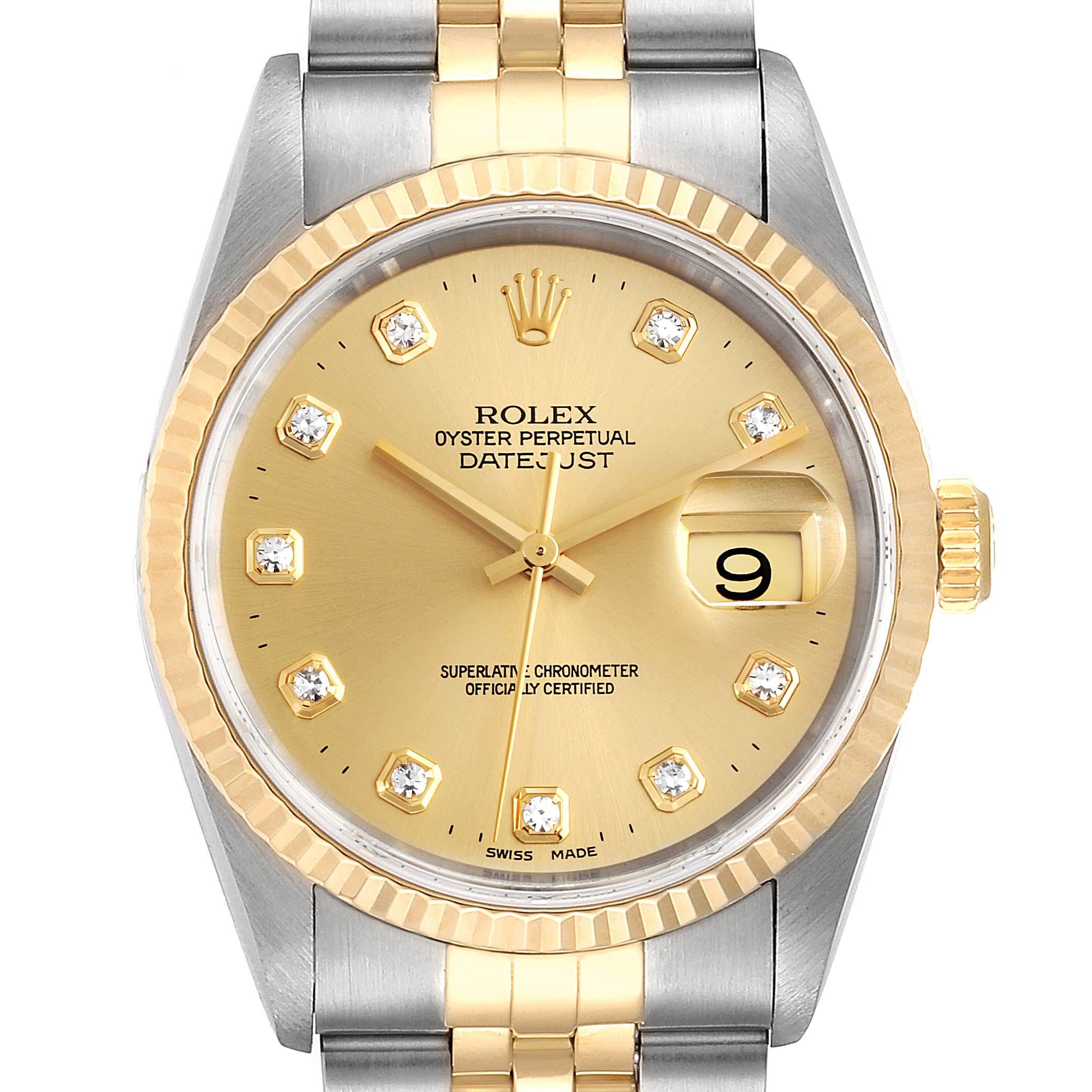 Photo of Rolex Datejust Steel 18K Yellow Gold Diamond Dial Mens Watch 16233