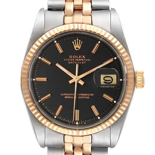 Photo of Rolex Datejust Steel Rose Gold Black Pie Pan Dial Vintage Mens Watch 1601