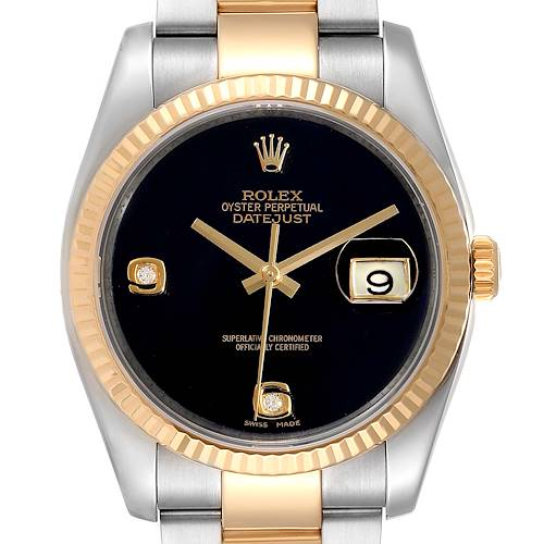 Photo of Rolex Datejust Steel Yellow Gold Black Onyx Diamond Mens Watch 116233
