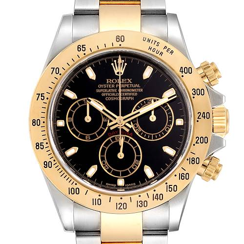 Photo of Rolex Daytona Steel Yellow Gold Black Dial Chronograph Mens Watch 116523