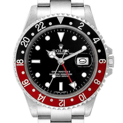 Photo of Rolex GMT Master II Black Red Coke Bezel Mens Watch 16710 Box Papers