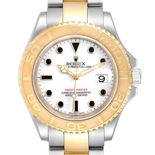 Photo of Rolex Yachtmaster Steel Yellow Gold White Dial Mens Watch 16623 Box Papers