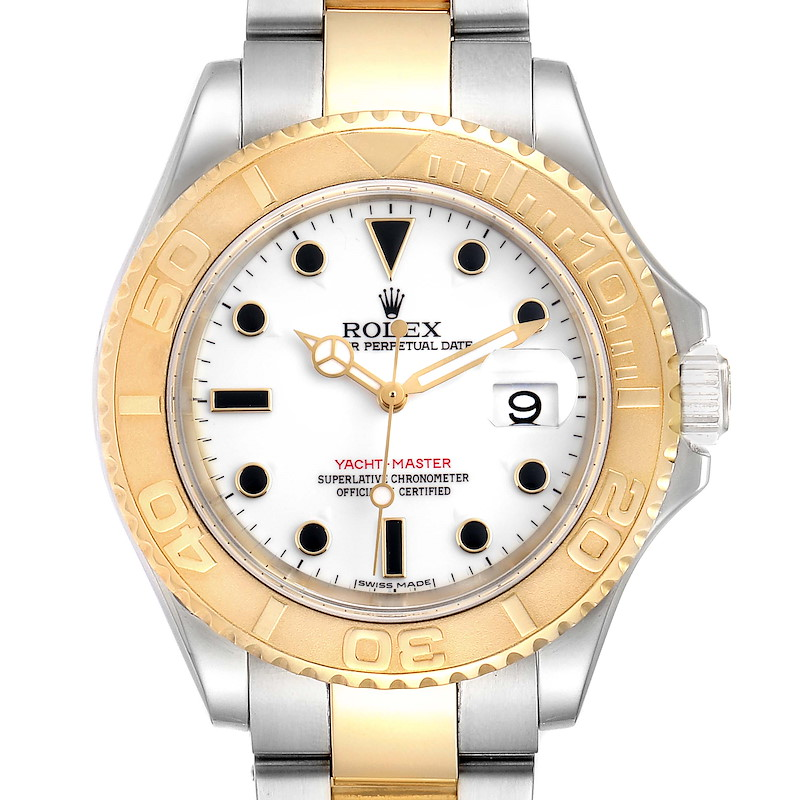 Rolex Yachtmaster Steel Yellow Gold White Dial Mens Watch 16623 Box Papers SwissWatchExpo