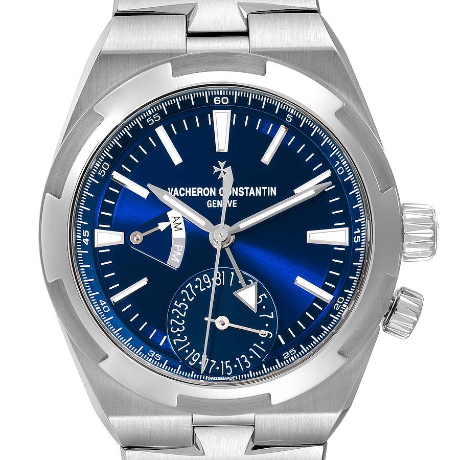 Vacheron Constantin Overseas Dual Time Blue Dial Steel Watch 7900V Unworn SwissWatchExpo