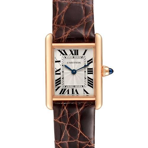 Photo of Cartier Tank Louis 18k Rose Gold Mechanical Ladies Watch WGTA0010 Box Card